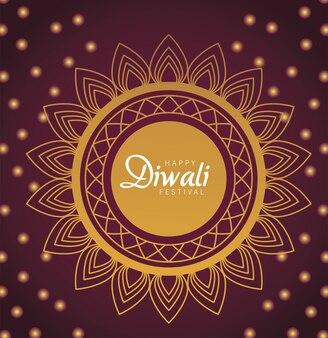 Happy diwali celebration with lettering in golden mandala