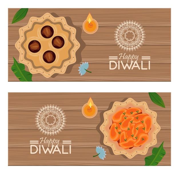木製の背景に3つのキャンドルで幸せなディワリ祭のお祝い