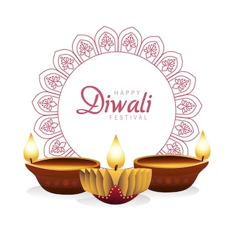 Happy diwali celebration with three candles wooden in mandala