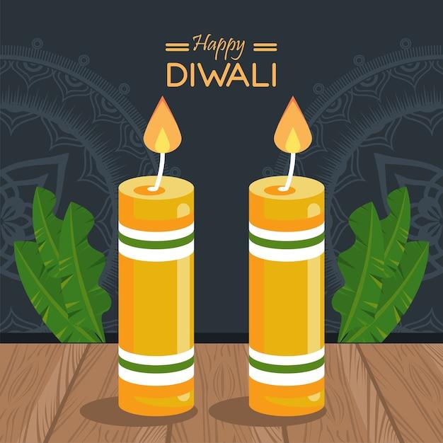 木製の2つのキャンドルと木製のテーブルのベクトル図の葉と幸せなディワリ祭のお祝い
