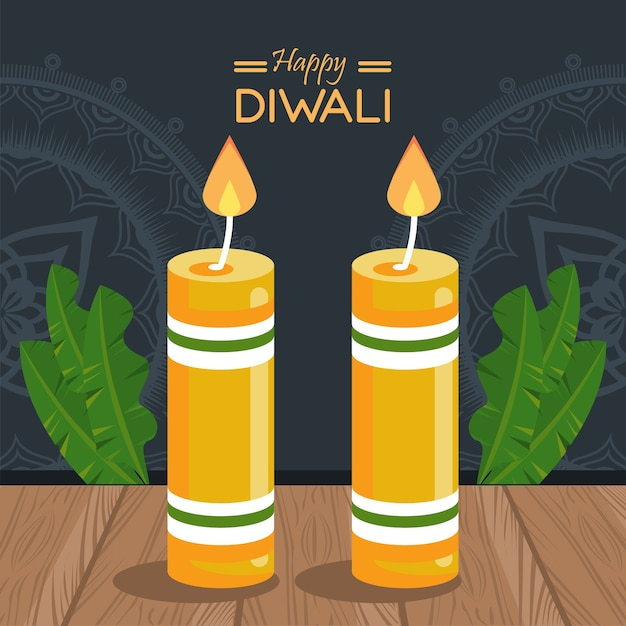 Happy diwali celebration with two candles wooden and leafs in wooden table vector illustration