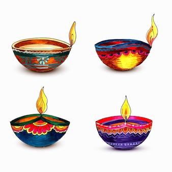 Happy diwali colorful watercolor diya set design