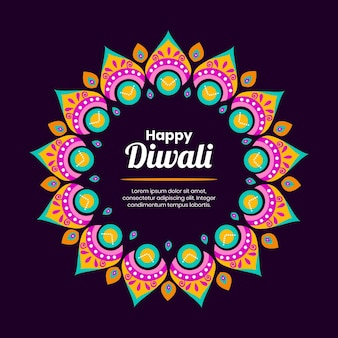 Happy diwali concept in flat design