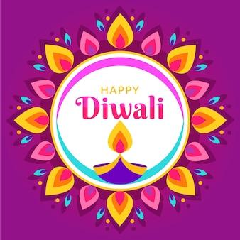Happy diwali concept in flat design