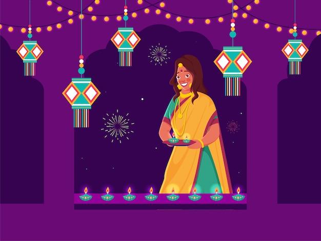 Happy diwali concept illustration