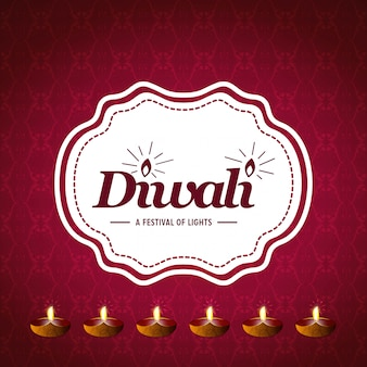 Happy diwali creative design with red background and typography