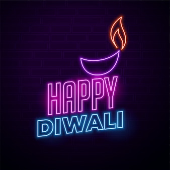 Happy diwali creative illustration in neon style