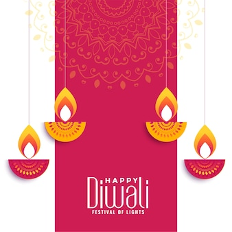 Happy diwali creative wishes card design