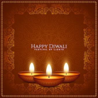 Felice diwali festival culturale cornice artistica sfondo vettore