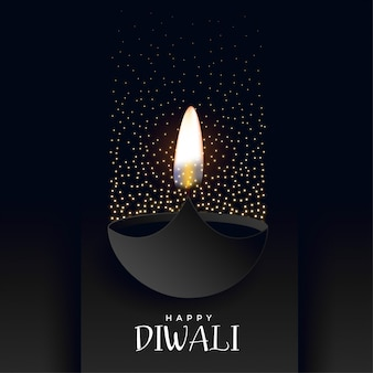 Diwali felice sfondo scuro con scintillii