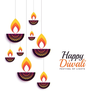 Happy diwali decorative diya festival card design