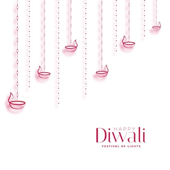 Diya decorativo felice diwali su disegno bianco del fondo