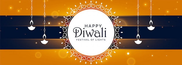 Happy diwali decorative festival banner with diya