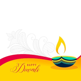 Happy diwali decorative flat style card
