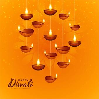 Happy diwali decorative hanging oil lamp celebration background