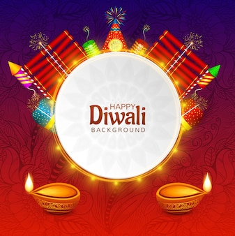 Happy diwali decorative oil lamp on fire cracker celebration
