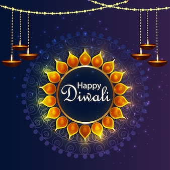 Happy diwali design background with diwali lamp and diya