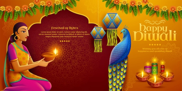 Happy diwali design with beautiful indian woman holding oil lamp diya and there are marigolds