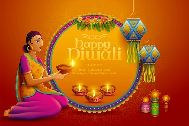 Happy diwali design with beautiful indian woman holding oil lamp diya