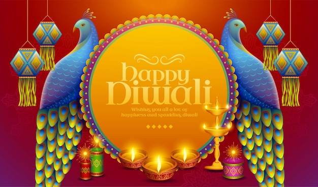 Happy diwali design with beautiful peacocks standing near by traditional indian lantern and oil lamp