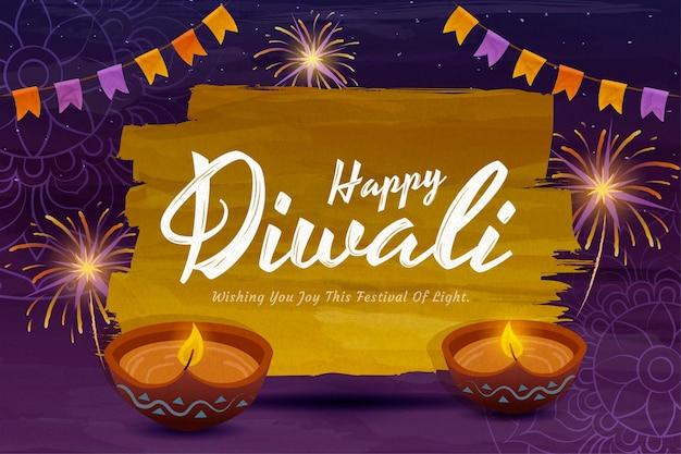 Happy diwali design with beautiful rangoli and diya oil lamps on purple background
