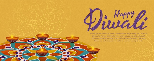 Happy diwali design with beautiful rangoli and diya oil lamps