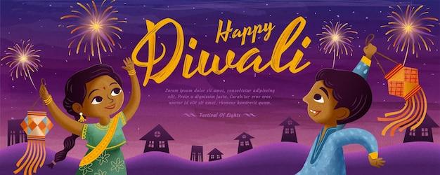 Happy diwali design with children holding traditional lantern and enjoying fireworks