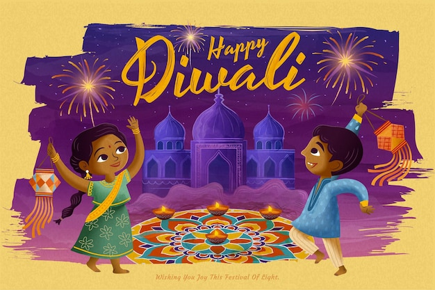 Happy diwali design with children holding traditional lantern in front of rangoli