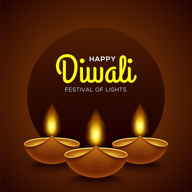 Happy diwali design with diya oil lamp elements on brown background