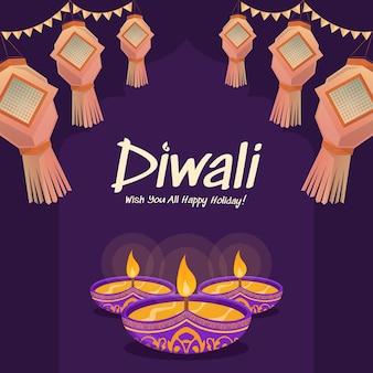 Happy diwali design with diya oil lamp elements on purple background, bokeh sparkling effect, diwali celebration greeting card. vector illustration