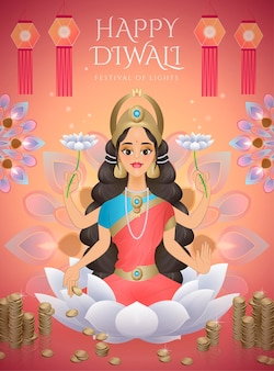 Happy diwali design with goddess lakshmi sitting on lotus and surrounded by money and oil lamps