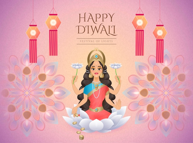 Happy diwali design with goddess lakshmi sitting on white lotus and surrounded by oil lamps