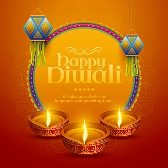 Happy diwali design with traditional indian lantern and oil lamp