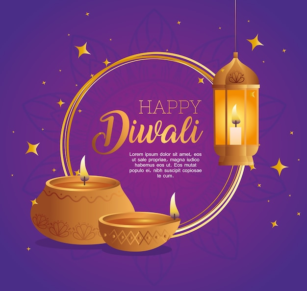 Happy diwali diya candles and lantern design, festival of lights theme