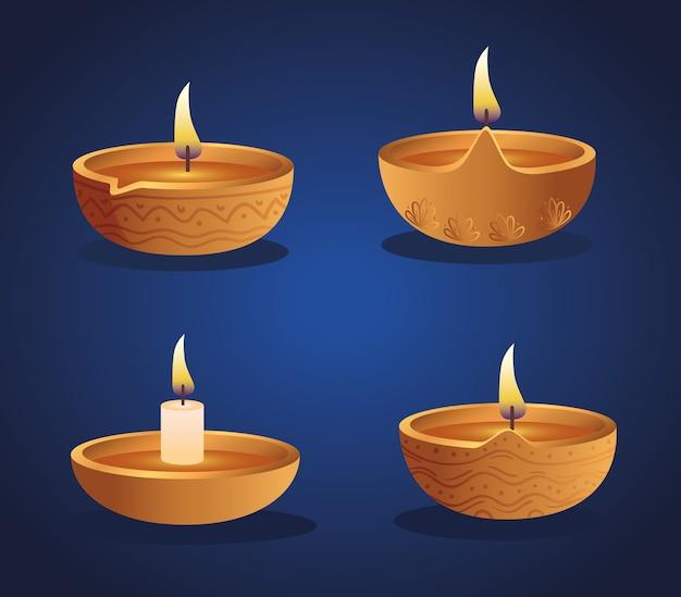 Дизайн набора свечей счастливого дивали дия, тема фестиваля огней