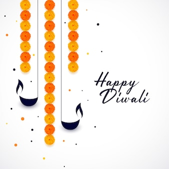 Happy diwali diya and flower decoration background