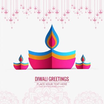 Happy diwali diya oil lamp festival business card design