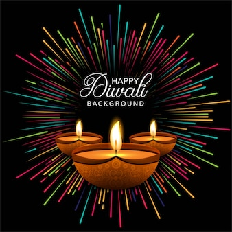 Happy diwali diya oil lamp festival card