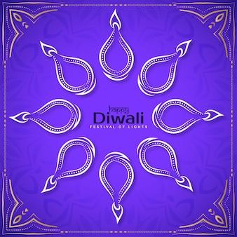 Happy diwali festival background with line art diya design