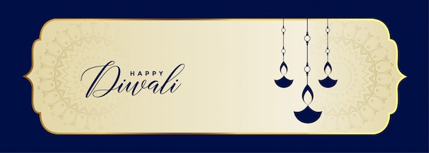 Happy diwali festival banner in blue