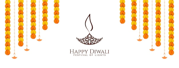 Happy diwali festival banner design with flowers vector