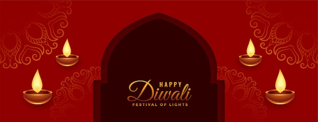 Banner di festival di diwali felice nel design di colore rosso