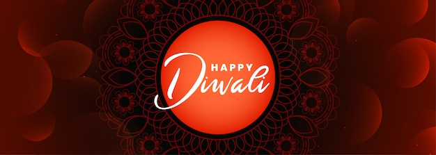 Happy diwali festival banner in red shiny decorative style