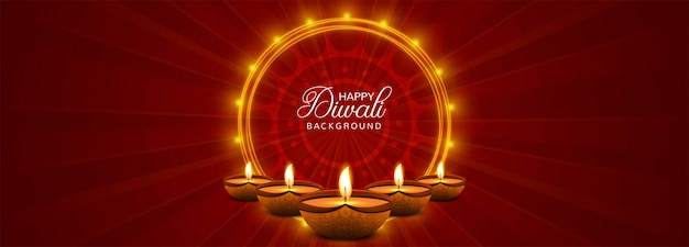 Happy diwali festival banner with colorful