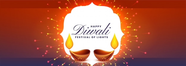 Happy diwali festival banner with firework
