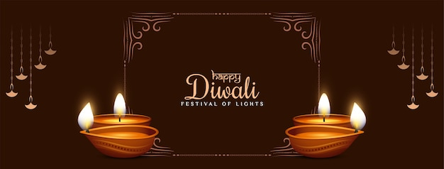 Happy diwali festival banner with frame and lamps