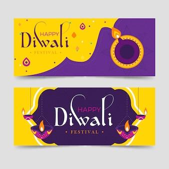 Happy diwali festival banners