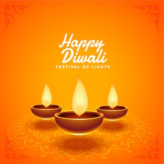 Happy diwali festival beautiful diya background