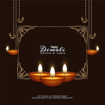 Happy diwali festival black greeting card with frame and candles