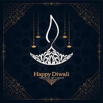 Happy diwali festival card con un bellissimo design diya